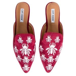 Shoes - NEW! Wine Embroidered Mule Flat
